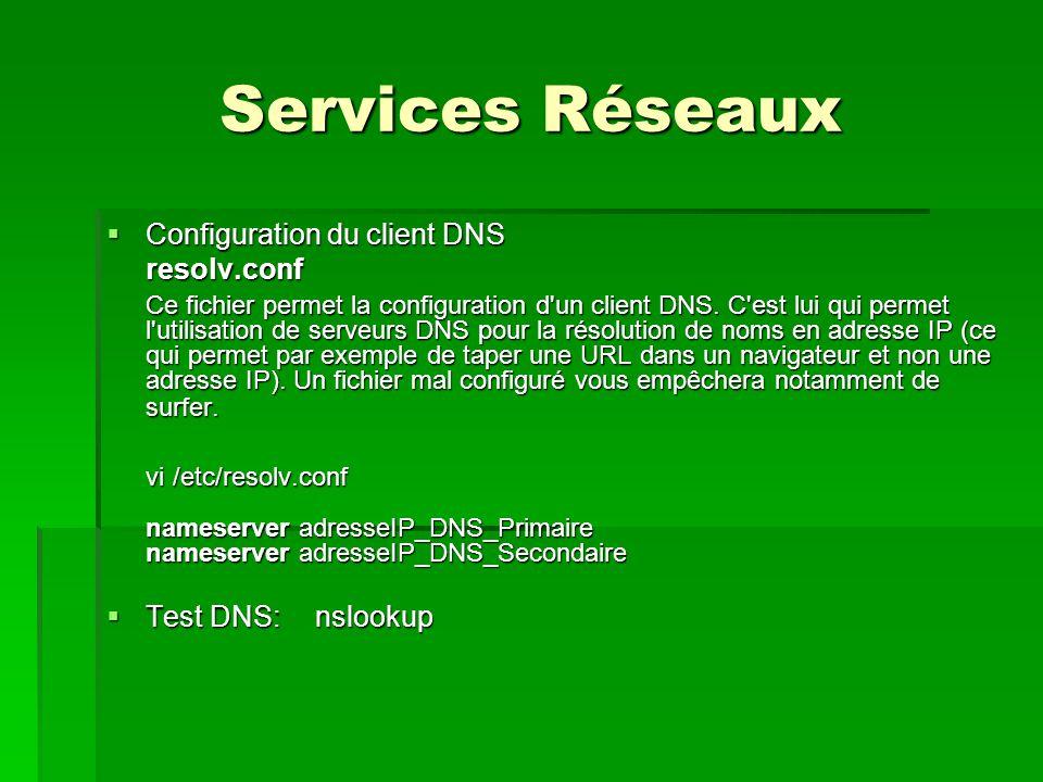 Services Réseaux Configuration du client DNS resolv.conf
