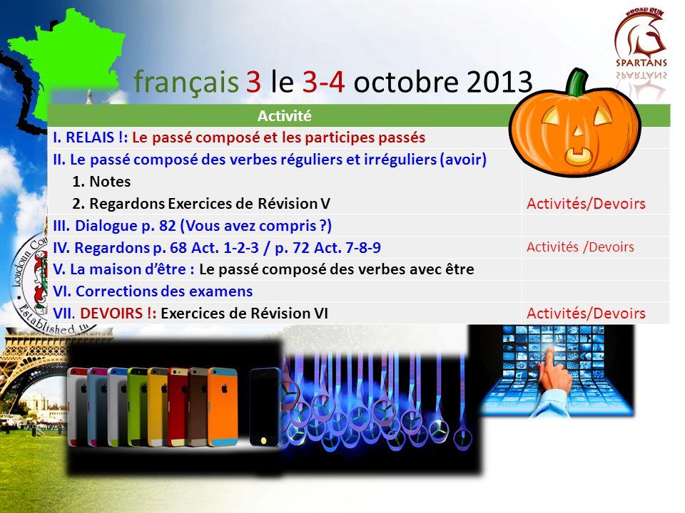 français 3 le 3-4 octobre 2013 Activité Classeur