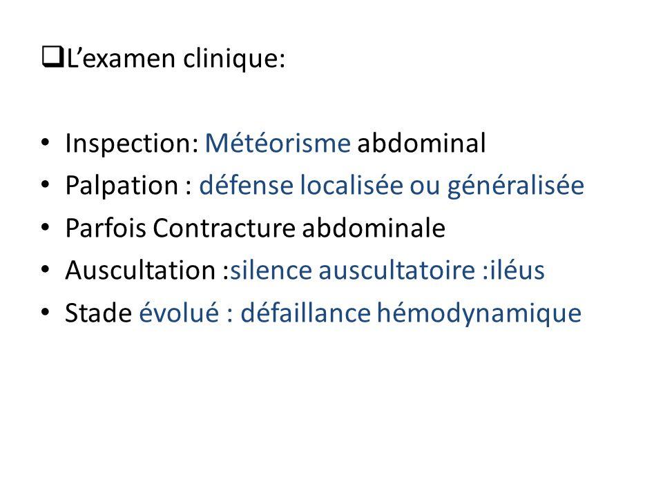 L'examen clinique: Inspection: Météorisme abdominal. Palpation : défense localisée ou généralisée.