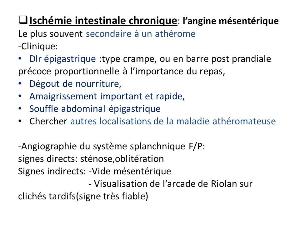 Ischémie intestinale chronique: l'angine mésentérique