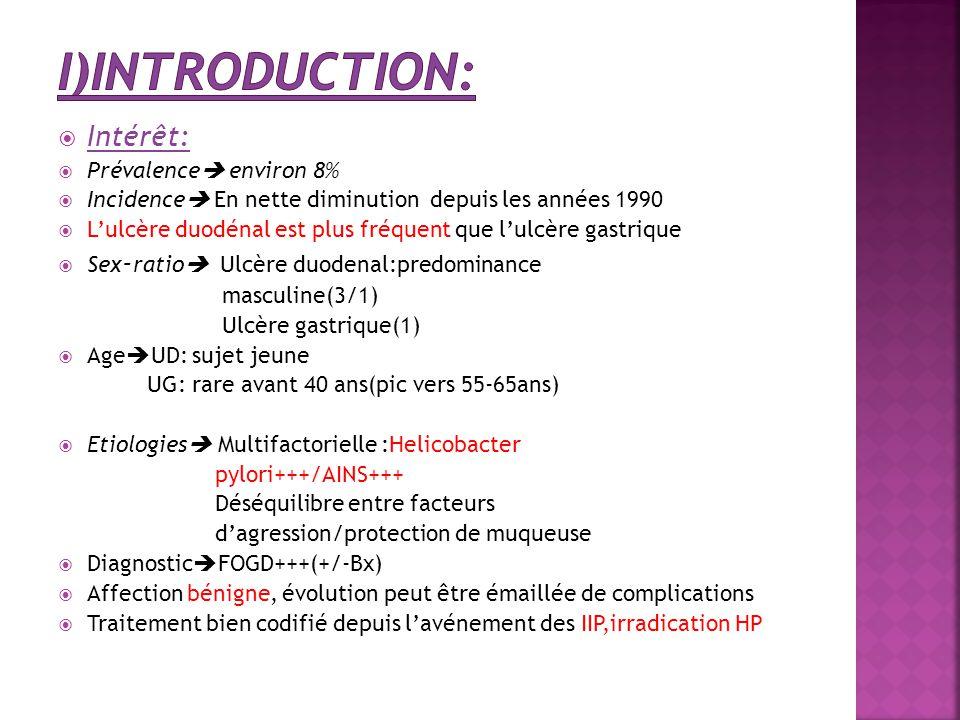 I)Introduction: Intérêt: Prévalence environ 8%