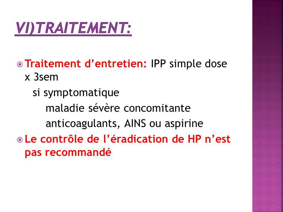 vi)Traitement: Traitement d'entretien: IPP simple dose x 3sem