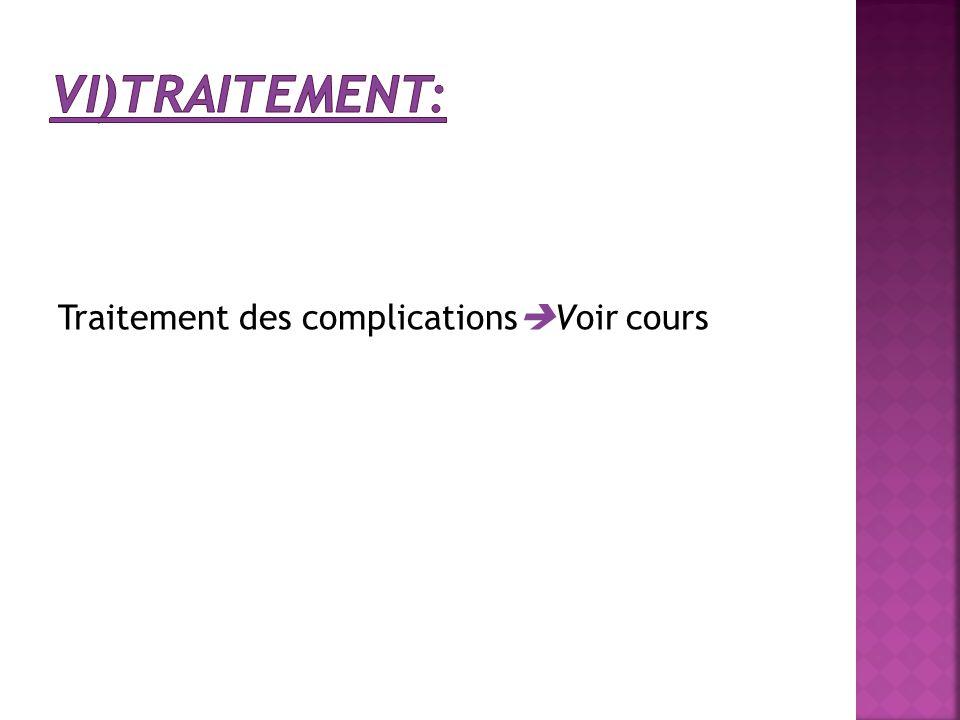 vi)Traitement: Traitement des complicationsVoir cours