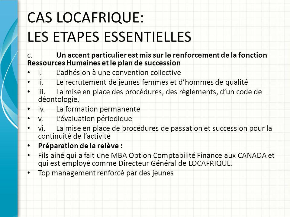 CAS LOCAFRIQUE: LES ETAPES ESSENTIELLES
