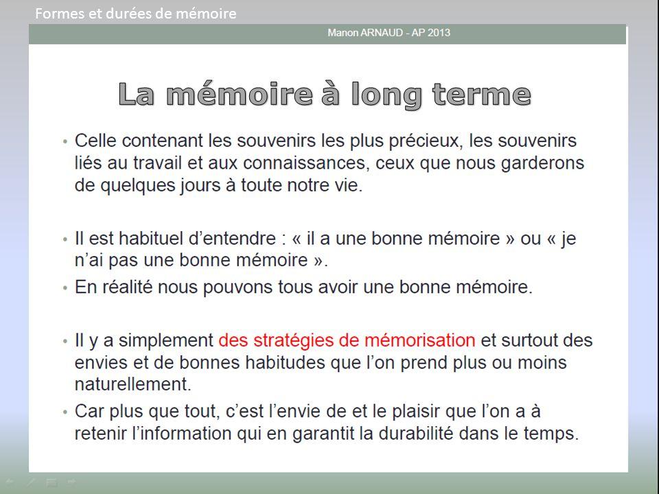 Formes et durées de mémoire