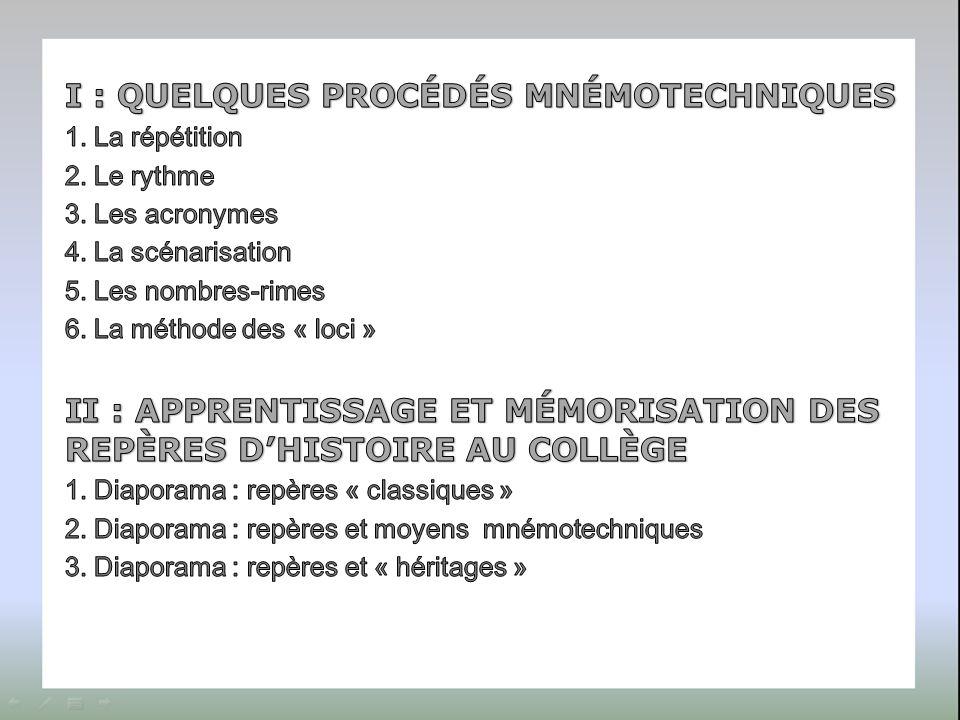 I : QUELQUES PROCÉDÉS MNÉMOTECHNIQUES