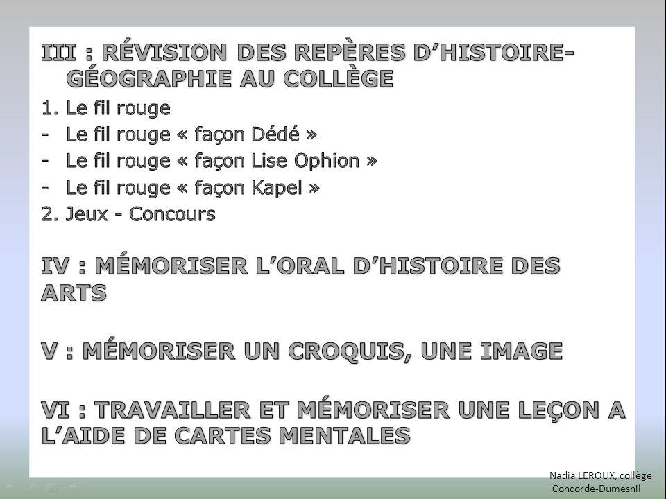 III : RÉVISION DES REPÈRES D'HISTOIRE-GÉOGRAPHIE AU COLLÈGE