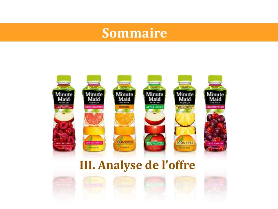 Sommaire III. Analyse de l'offre
