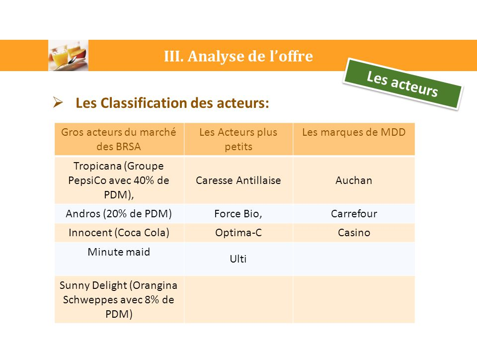 Les Classification des acteurs: