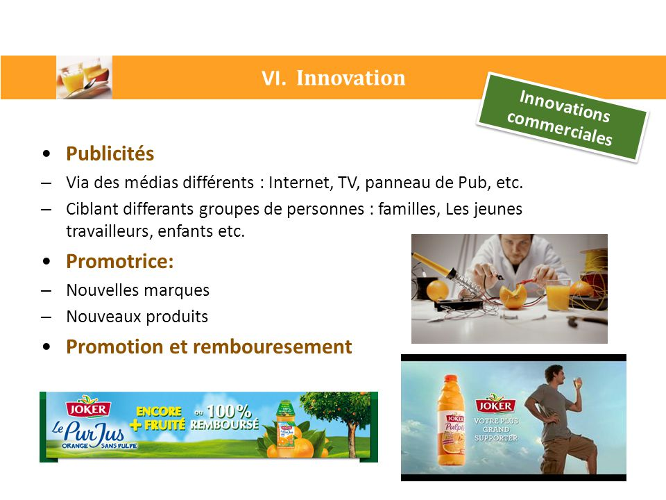 Innovations commerciales
