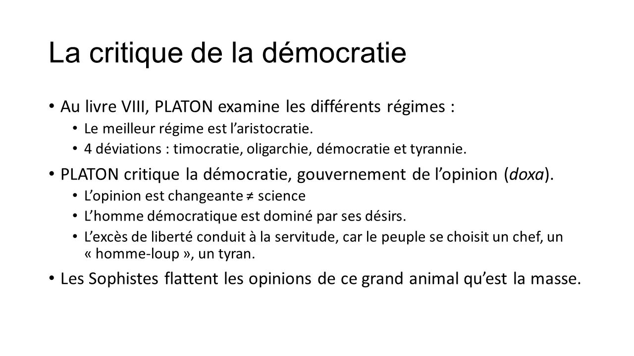 La critique de la démocratie