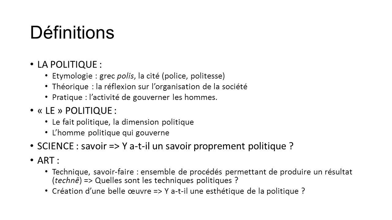 Définitions LA POLITIQUE : « LE » POLITIQUE :
