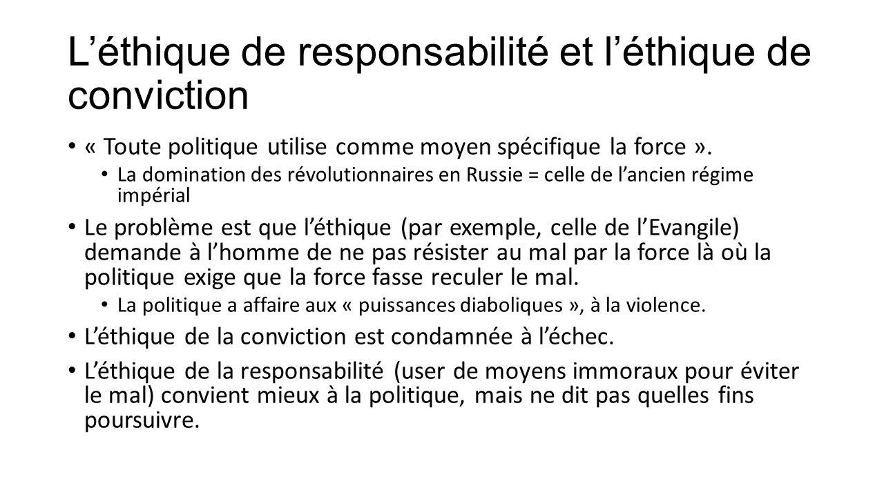 L'éthique de responsabilité et l'éthique de conviction