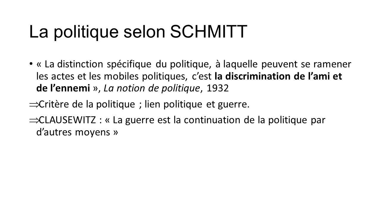La politique selon SCHMITT