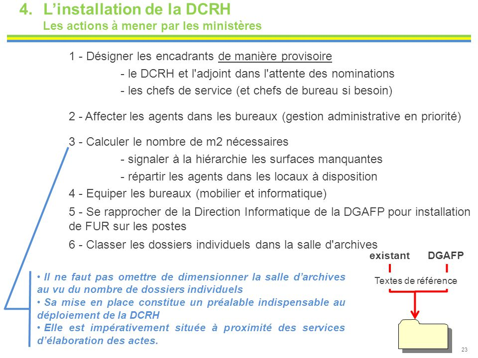 L'installation de la DCRH