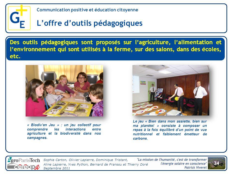 L'offre d'outils pédagogiques
