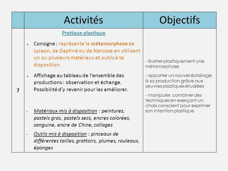 Activités Objectifs Pratique plastique