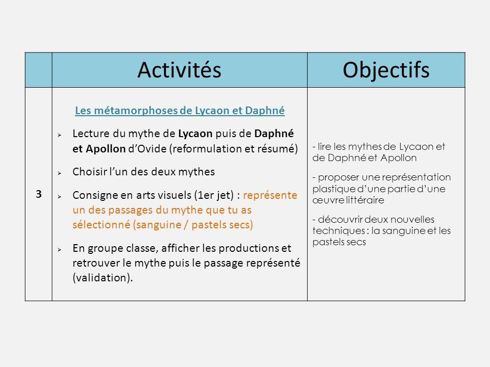 Les métamorphoses de Lycaon et Daphné