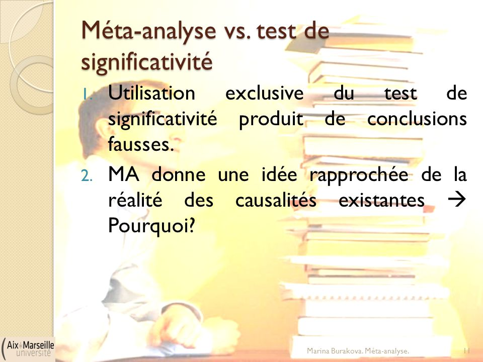 Méta-analyse vs. test de significativité