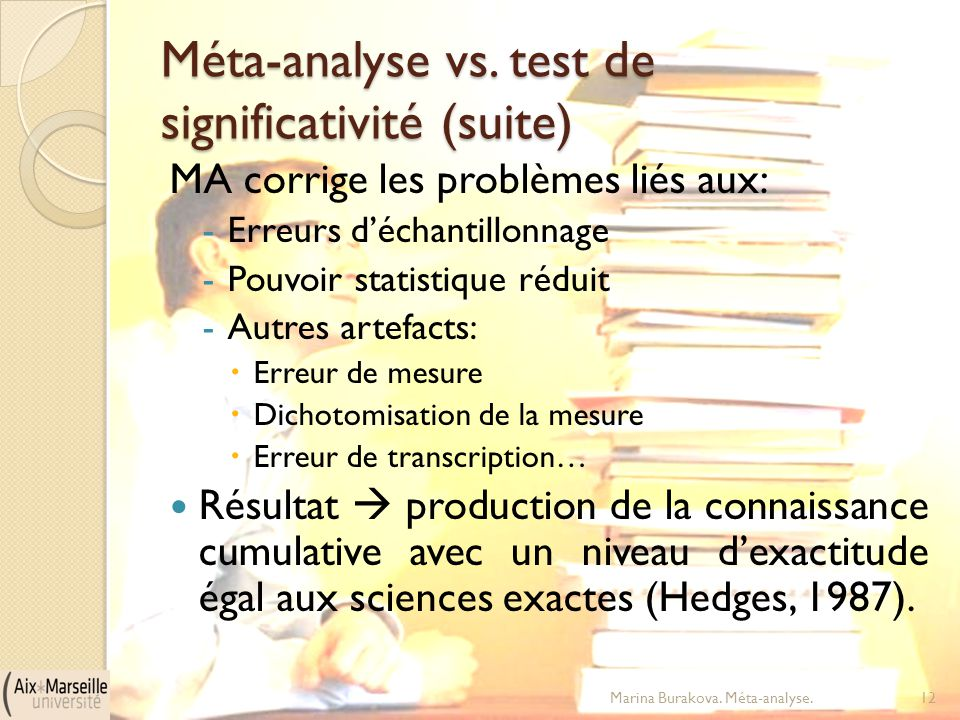Méta-analyse vs. test de significativité (suite)