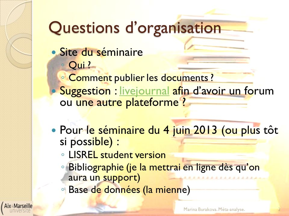 Questions d'organisation