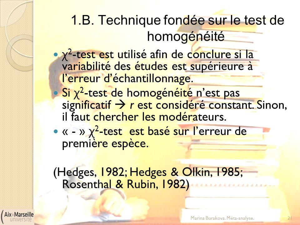 1.B. Technique fondée sur le test de homogénéité