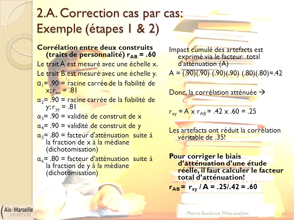 2.A. Correction cas par cas: Exemple (étapes 1 & 2)