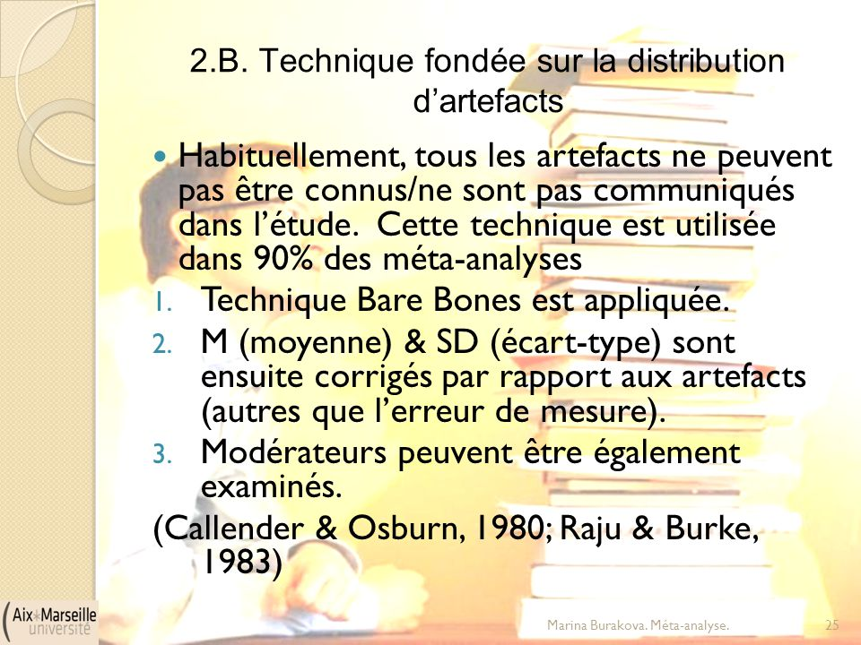 2.B. Technique fondée sur la distribution d'artefacts