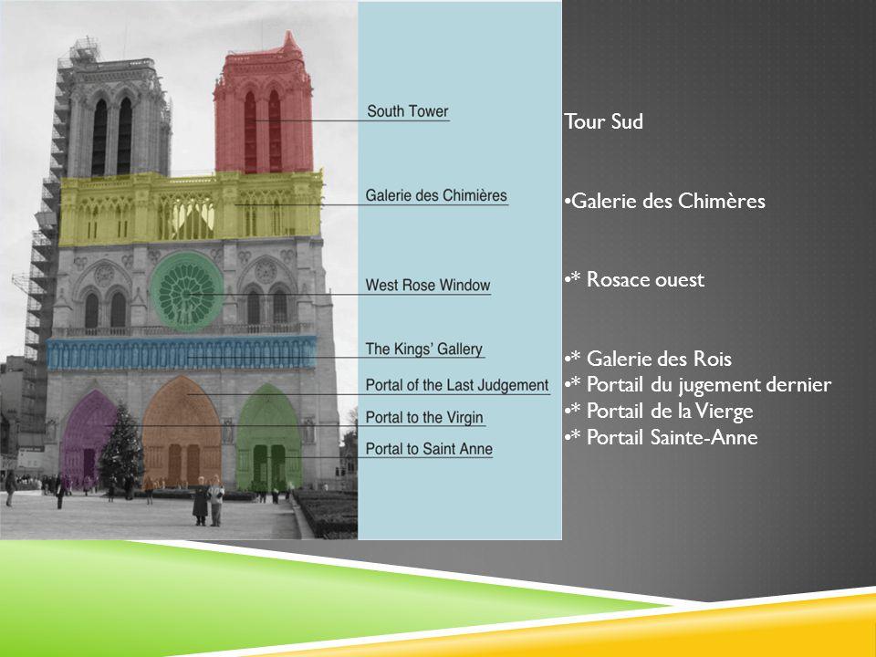 Tour Sud Galerie des Chimères. * Rosace ouest. * Galerie des Rois. * Portail du jugement dernier.