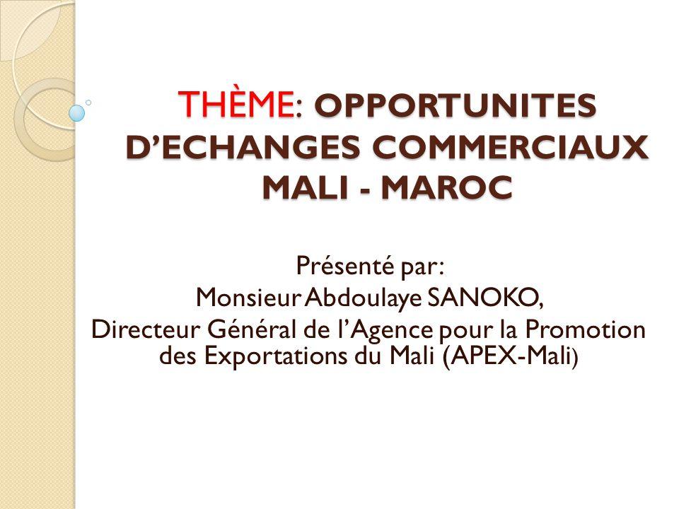 THÈME: OPPORTUNITES D'ECHANGES COMMERCIAUX MALI - MAROC