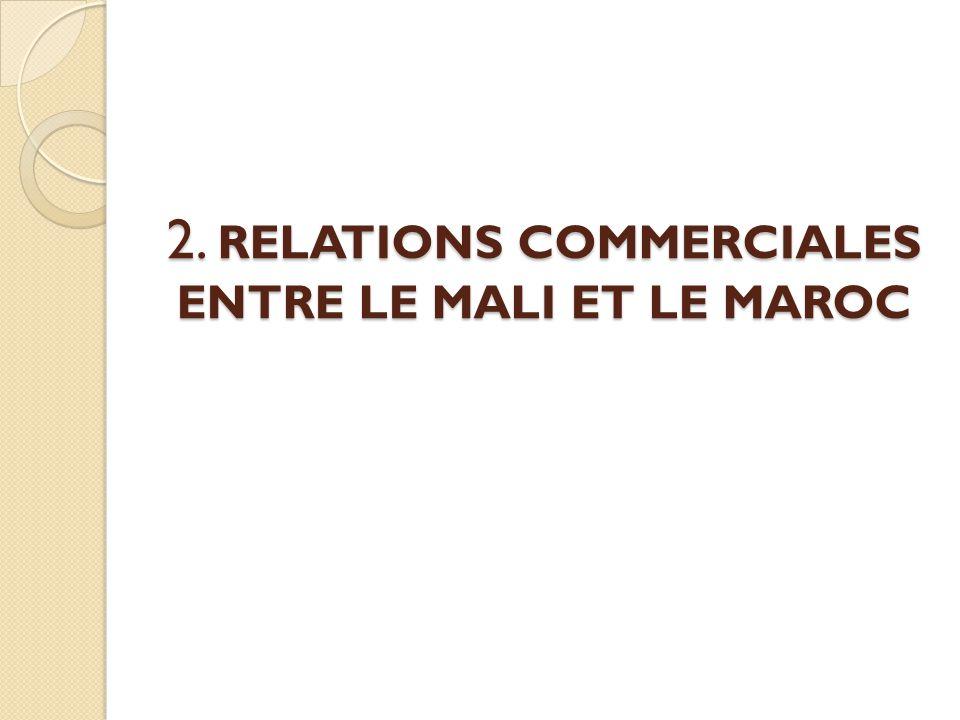 2. RELATIONS COMMERCIALES ENTRE LE MALI ET LE MAROC