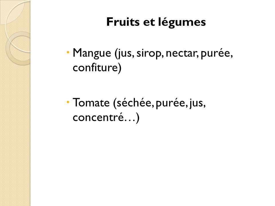 Fruits et légumes Mangue (jus, sirop, nectar, purée, confiture) Tomate (séchée, purée, jus, concentré…)