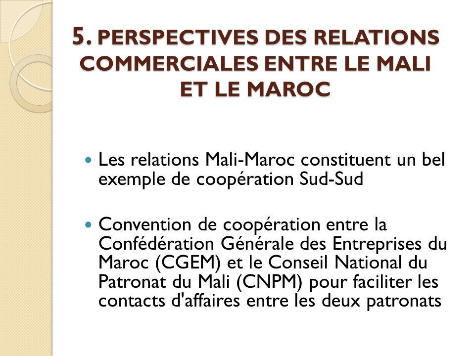 5. PERSPECTIVES DES RELATIONS COMMERCIALES ENTRE LE MALI ET LE MAROC