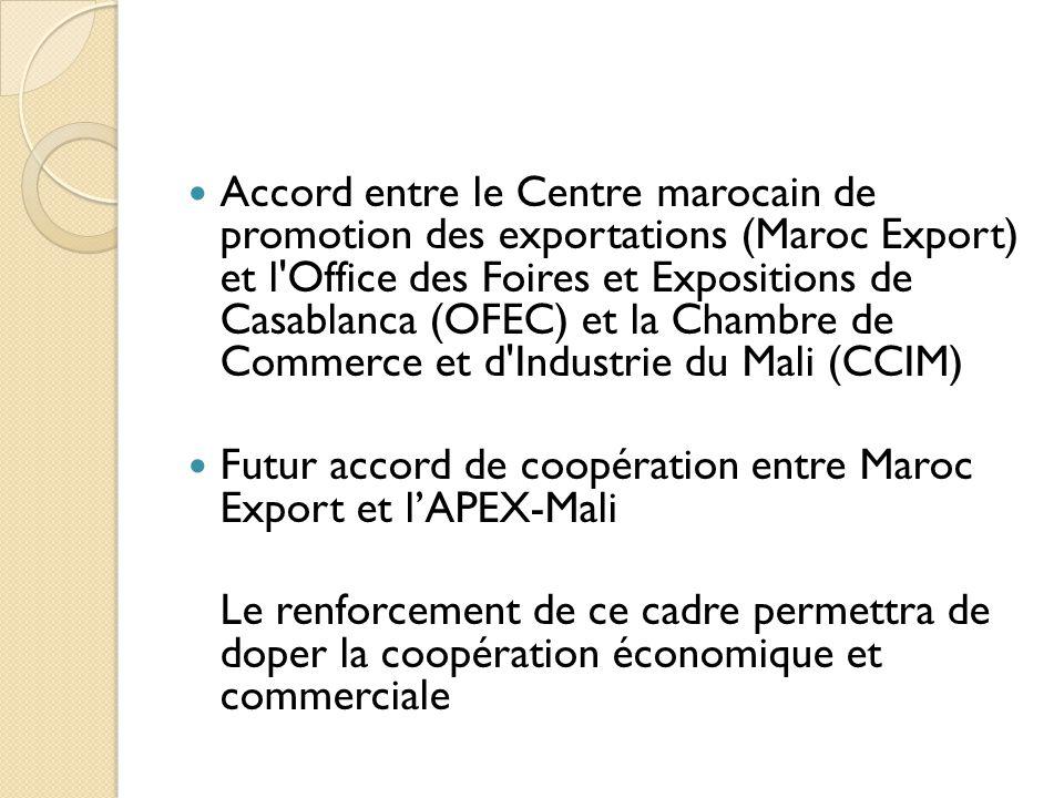 Accord entre le Centre marocain de promotion des exportations (Maroc Export) et l Office des Foires et Expositions de Casablanca (OFEC) et la Chambre de Commerce et d Industrie du Mali (CCIM)