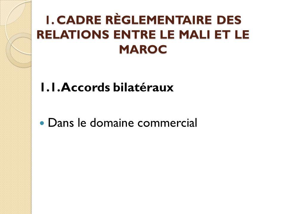 1. CADRE RÈGLEMENTAIRE DES RELATIONS ENTRE LE MALI ET LE MAROC