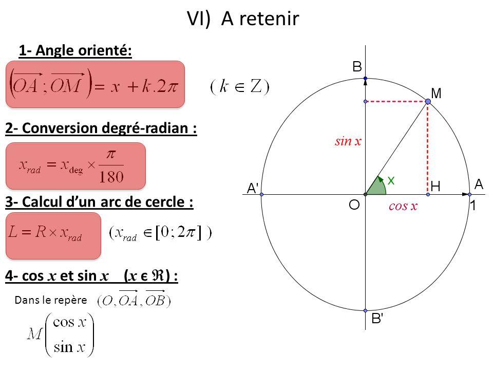 VI) A retenir 1- Angle orienté: 2- Conversion degré-radian :