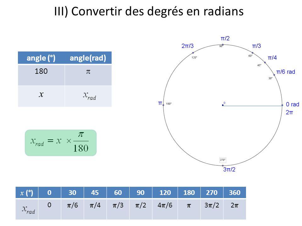 III) Convertir des degrés en radians