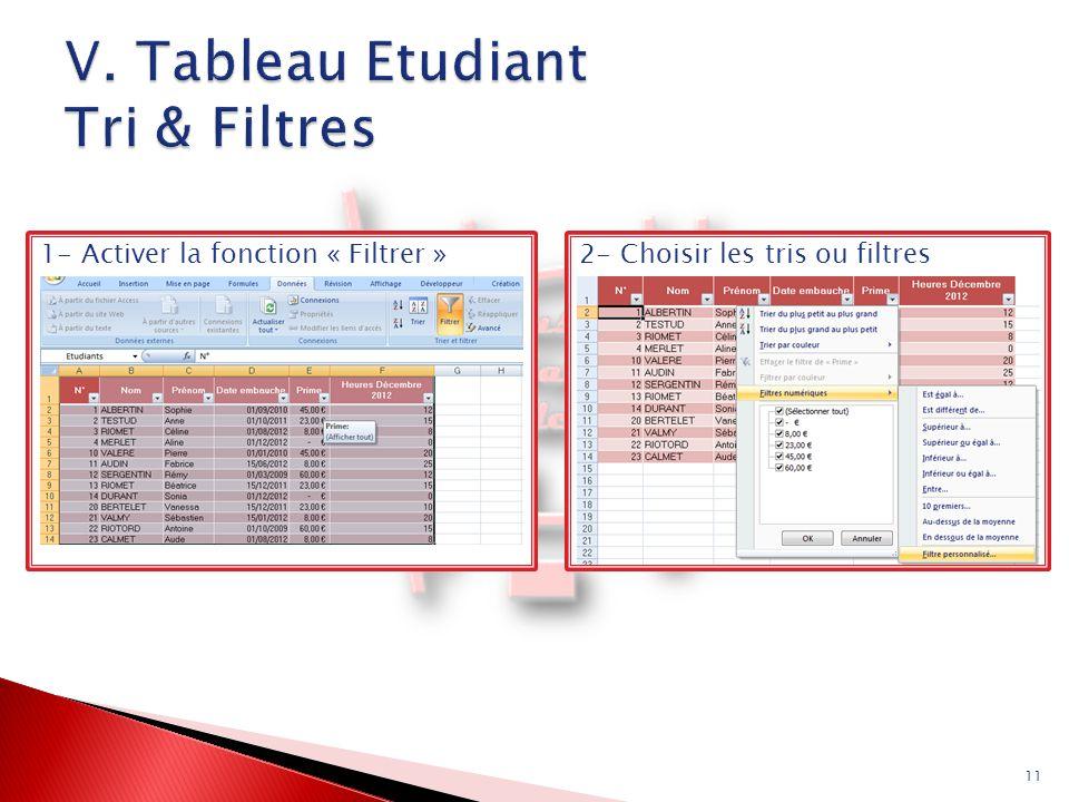 V. Tableau Etudiant Tri & Filtres