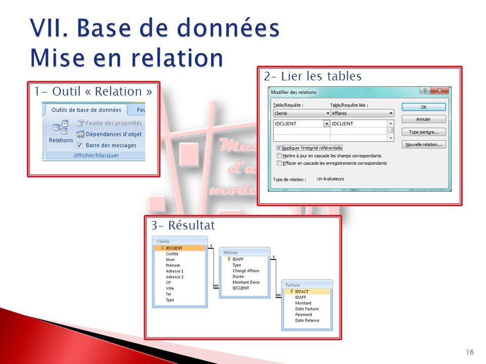 VII. Base de données Mise en relation