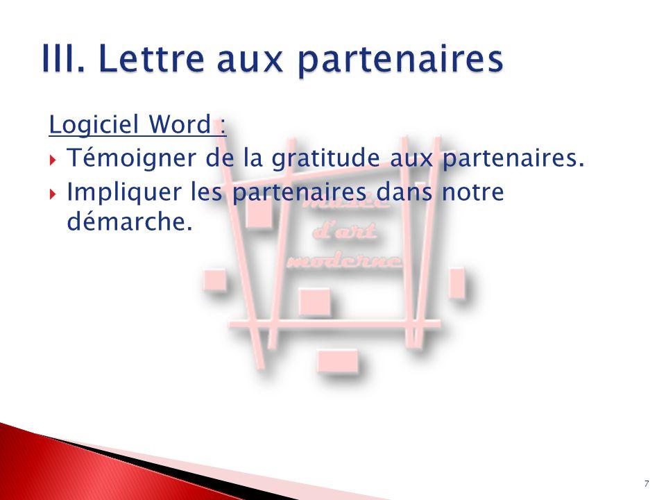 III. Lettre aux partenaires