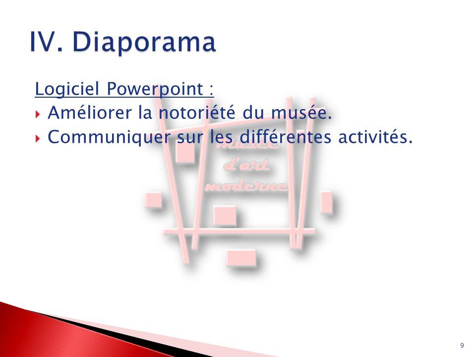 IV. Diaporama Logiciel Powerpoint : Améliorer la notoriété du musée.