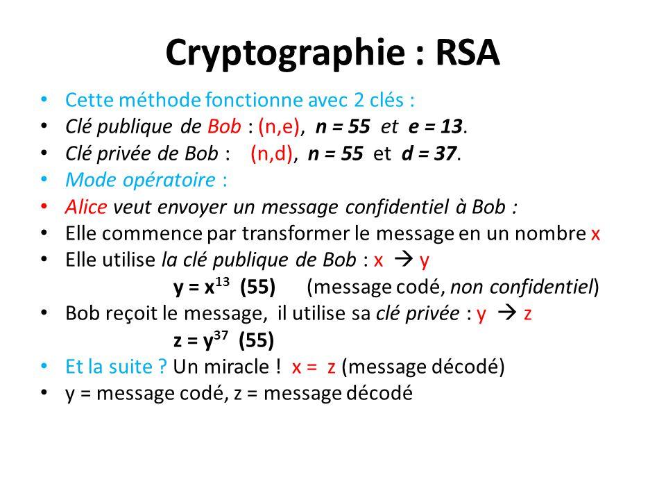 Cryptographie : RSA Cette méthode fonctionne avec 2 clés :