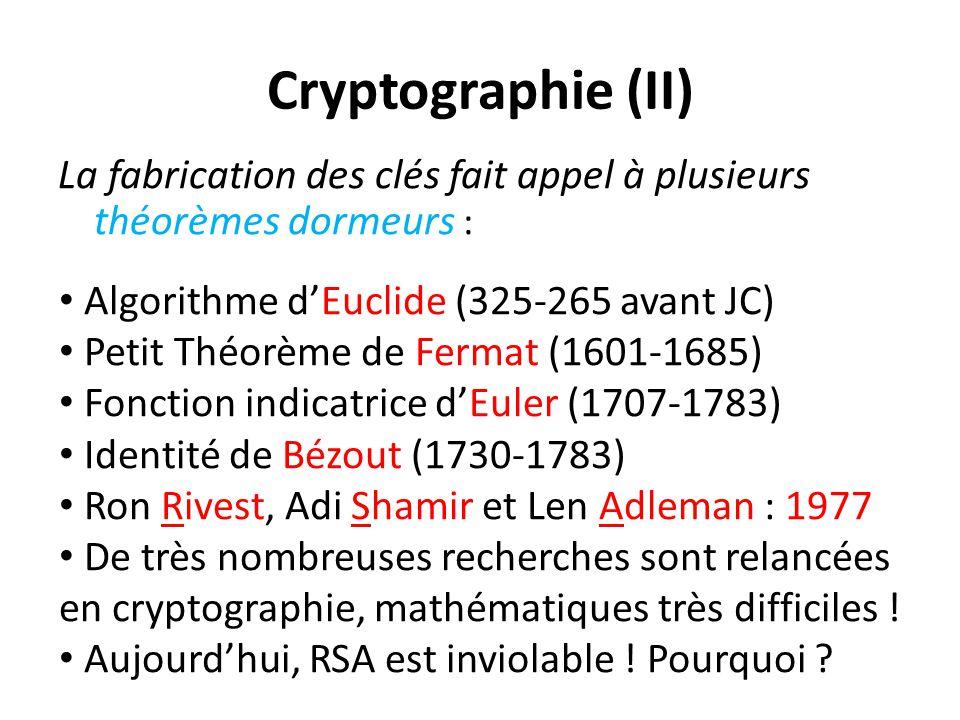 Cryptographie (II) La fabrication des clés fait appel à plusieurs théorèmes dormeurs : Algorithme d'Euclide (325-265 avant JC)