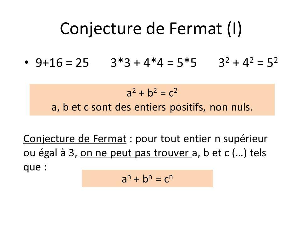 Conjecture de Fermat (I)