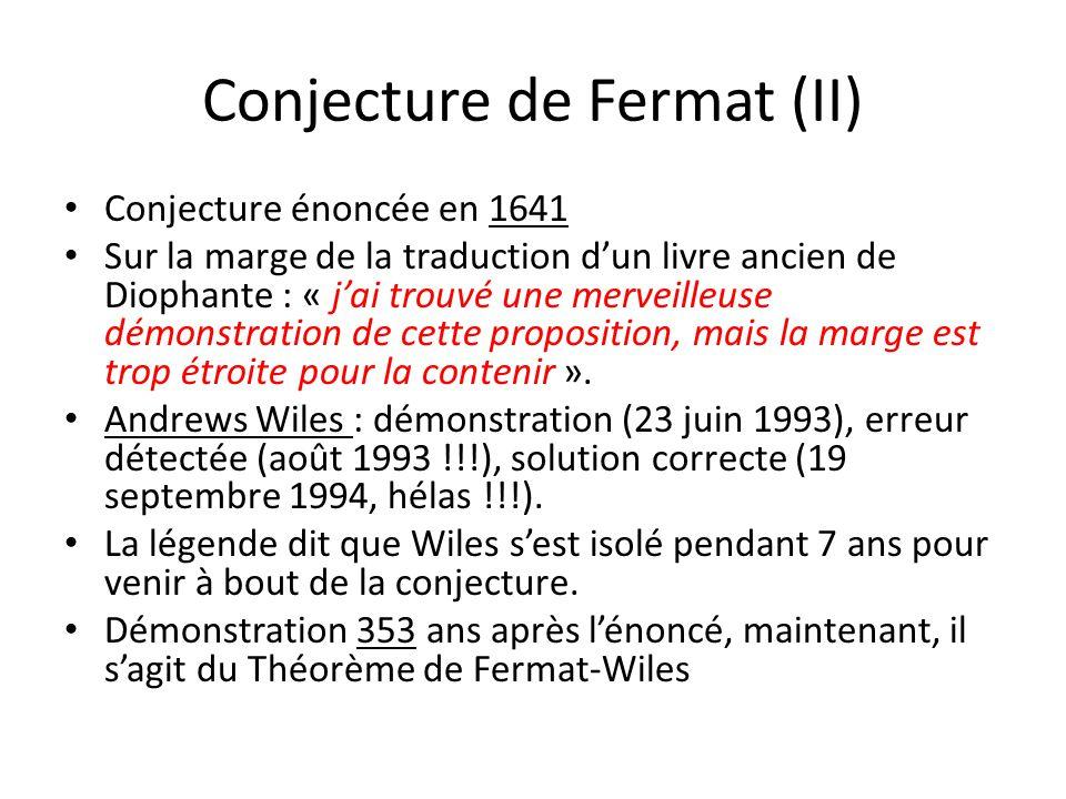 Conjecture de Fermat (II)