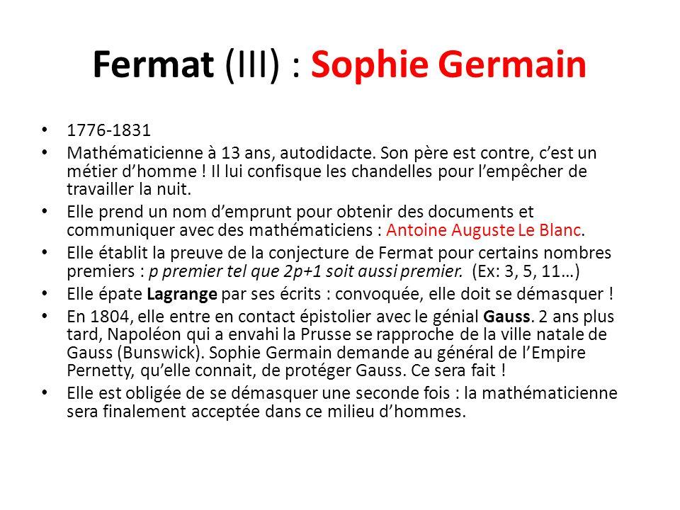Fermat (III) : Sophie Germain