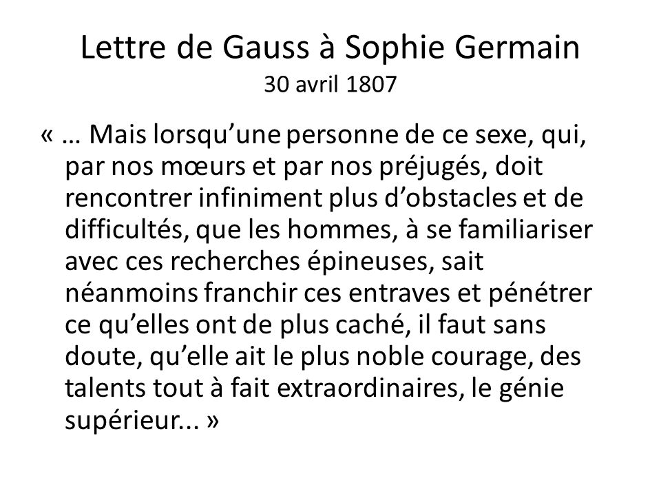 Lettre de Gauss à Sophie Germain 30 avril 1807