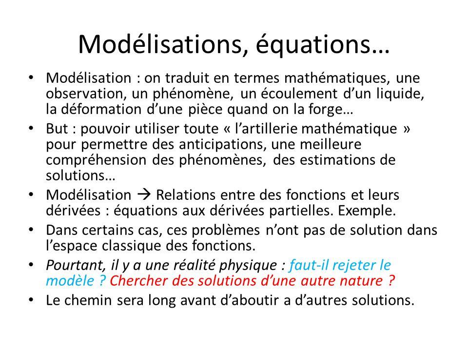 Modélisations, équations…