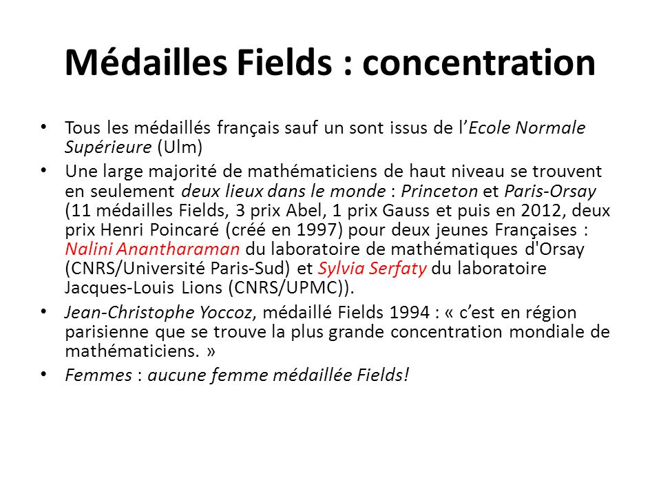 Médailles Fields : concentration