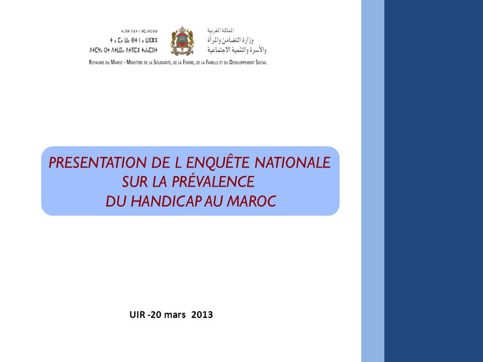 PRESENTATION DE L ENQUÊTE NATIONALE